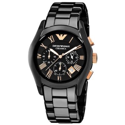 Emporio Armani經典羅馬黑色陶瓷三眼計時腕錶-玫瑰金(AR1410)x43mm