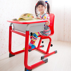 WSH 日式快樂兒童升降學習桌椅組 (紅色)