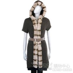 YES LONDON 深咖啡色毛草飾邊針織連帽外套(附腰帶)