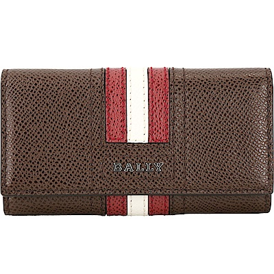 BALLY TALTOS 經典紅白條紋防刮皮革鑰匙包(棕色)