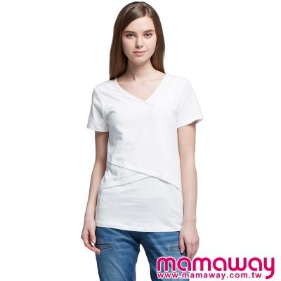 孕婦裝-哺乳衣-綿柔V領剪接上衣-共五色-Mama