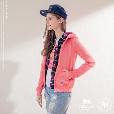 Roush 女生馬卡龍糖果色系合身版刷毛連帽外套 (4色)