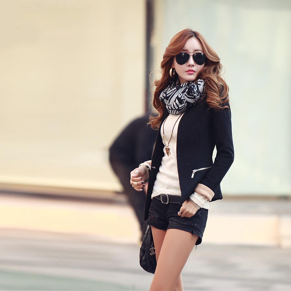 N.C21-配色袖口保暖毛呢西裝外套 (共二色)