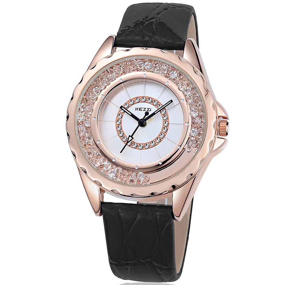 珂紫Kezzi-742 玫瑰金創意流沙晶鑽皮革手錶 (5色任選) @ Y!購物