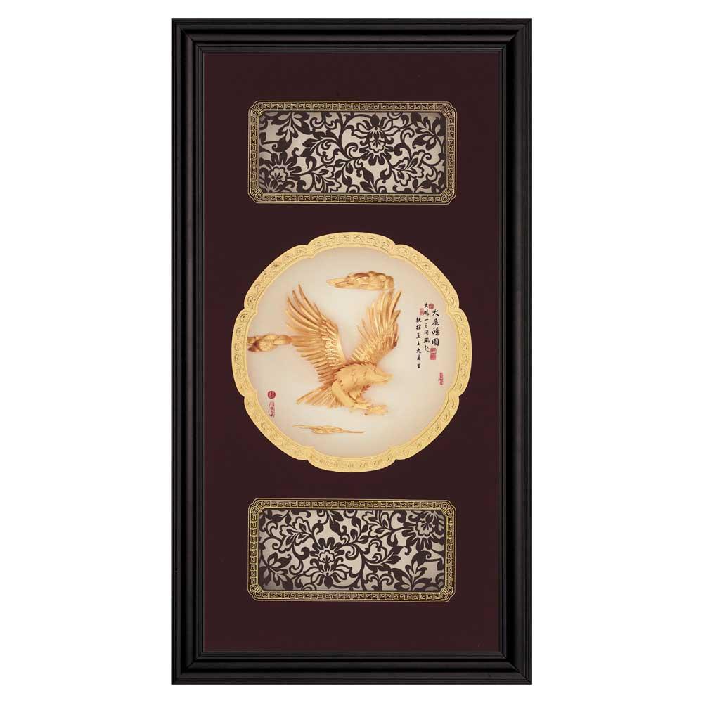 鹿港窯-立體金箔畫-大展鴻圖(圓滿系列27.5x50.5cm)