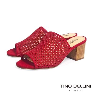 Tino Bellini 巴西 摩登時髦沖孔中跟穆勒鞋 _紅