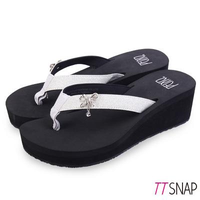 TTSNAP拖鞋-MIT修長顯瘦蝴蝶夾腳中跟涼拖 黑銀