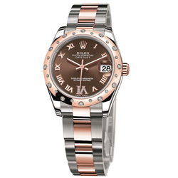 ROLEX勞力士Datejust 178341蠔式日誌型玫瑰金腕錶-巧克力VI鑽/31mm