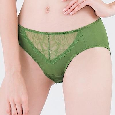 思薇爾 微戀花夏系列M-XXL蕾絲中腰三角內褲(泥綠色)