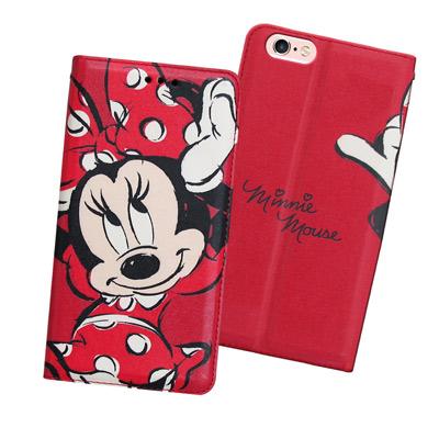 迪士尼正版iPhone 6s / 6 i6s 4.7吋手繪風磁力皮套(手繪米妮)