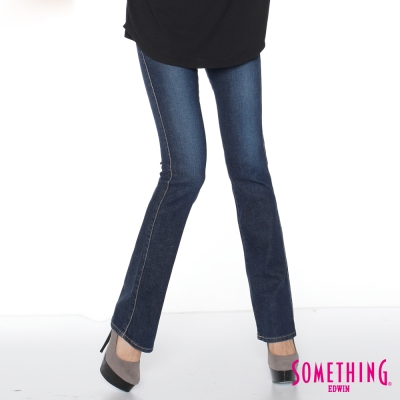 SOMETHING SOPHIA裝飾袋蓋靴型牛仔褲-女-中古藍