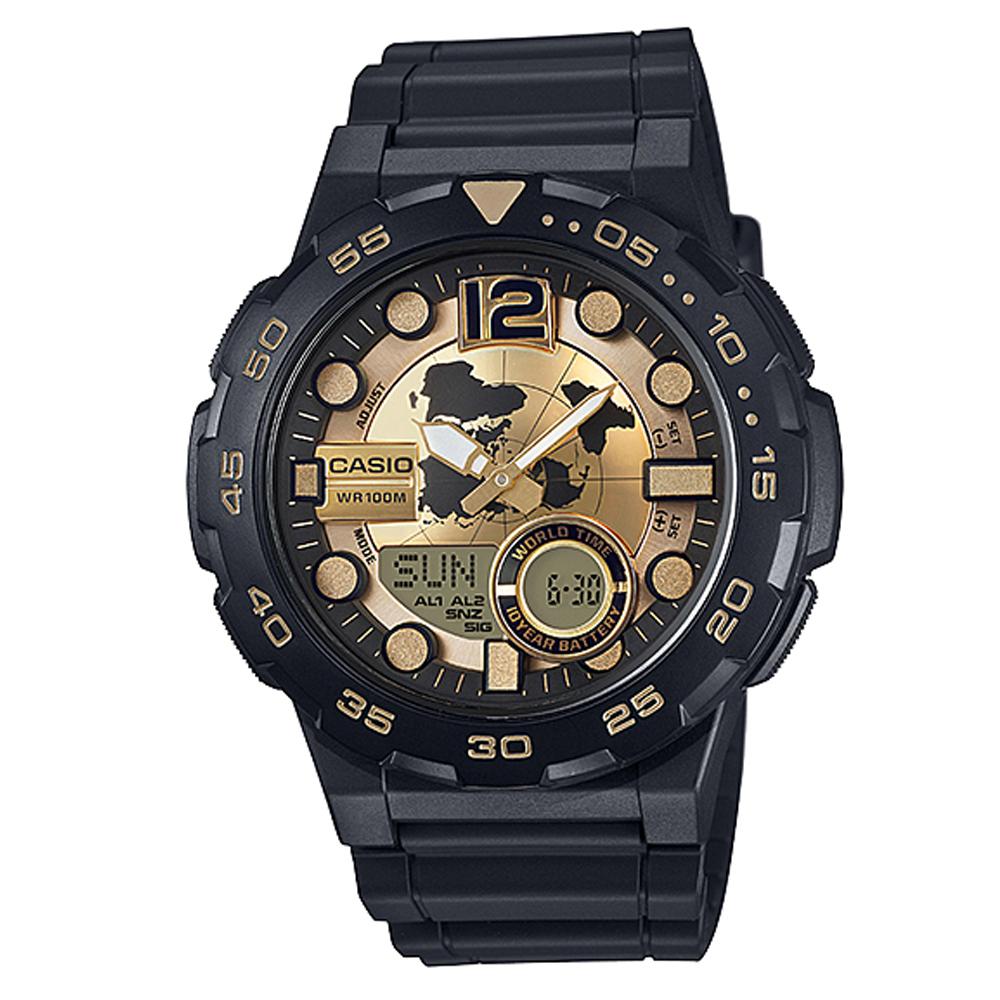 CASIO悍將世界地圖玩家潛水風格雙顯運動錶(AEQ-100BW-9A)黑X金面47.7mm