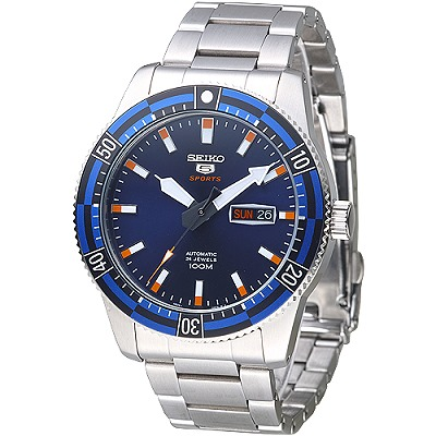 SEIKO 運動潛將百米5號24石自動機械男錶(SRP731K1)-藍*寶藍框/43mm