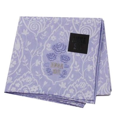 ANNA SUI 繽紛花朵字母玫瑰圖騰刺繡LOGO帕領巾(紫色系)