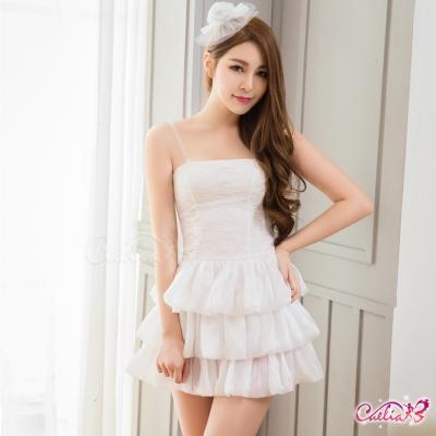 公主風 雪白平口短洋裝三件式公主派對角色扮演服(白F) Caelia