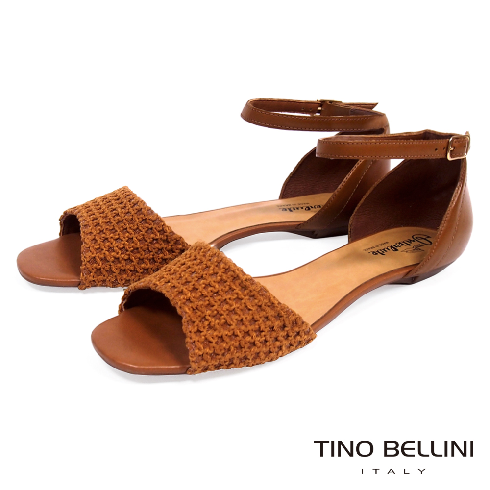 Tino Bellini巴西進口網格布料繫踝平底涼鞋_ 棕