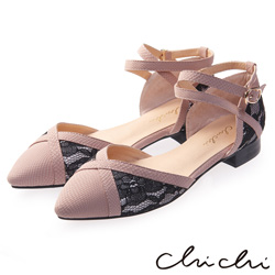 Chichi 氣質蕾絲撞色繞踝尖頭鞋*粉色