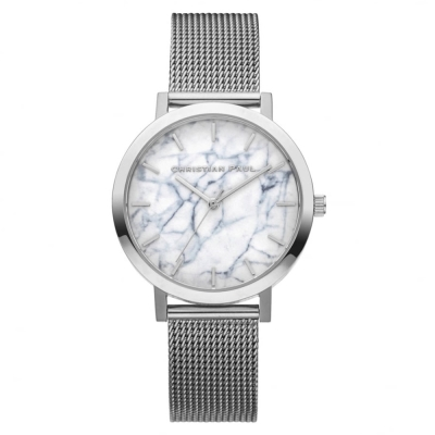 Christian Paul 大理石系列 銀色金屬網眼錶帶手錶35mm