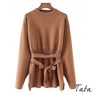 長版開叉下擺素面針織上衣(配腰帶)共二色 TATA