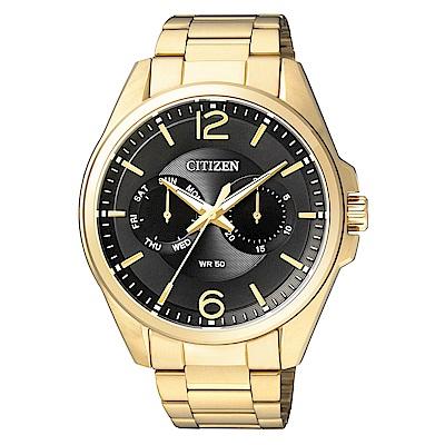 CITIZEN星辰  陽剛風格夜光石英腕錶(AG8322-50E)- 黑/41mm