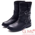 G.Ms. 擦色牛皮交叉皮帶釦中筒工程靴-黑色