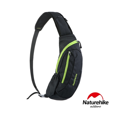 Naturehike 6L多功能防水單肩斜背包 胸前包 黑底綠邊