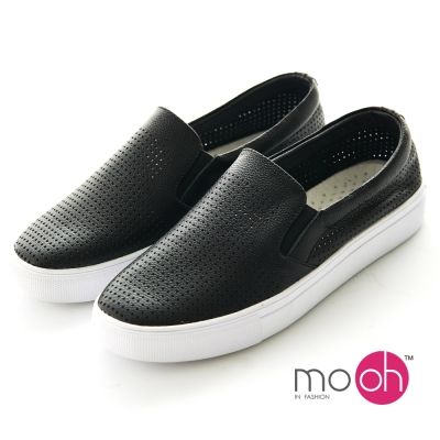 mo.oh-氣孔真皮套腳黑白色休閒鞋懶人鞋-黑