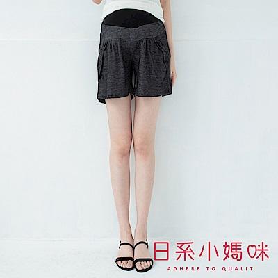 日系小媽咪孕婦裝-孕婦褲~彈力仿牛仔蝴蝶結造型口袋短褲 F、XL (共二色)
