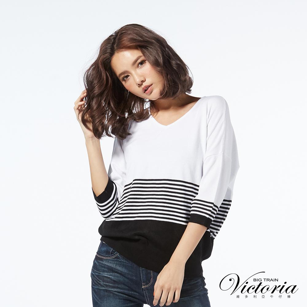 Victoria 織條變化落肩七分袖線衫-女-黑色