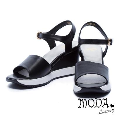 涼鞋 MODA Luxury 簡約寬版字帶牛皮楔型涼鞋-黑