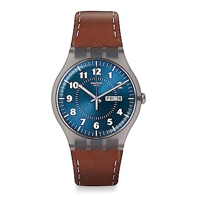 Swatch 原創系列 VENT BRULANT 文雅深藍手錶