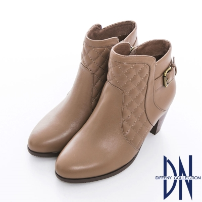 DN 氣質時尚 華麗美型菱格紋單釦粗跟裸靴 可可
