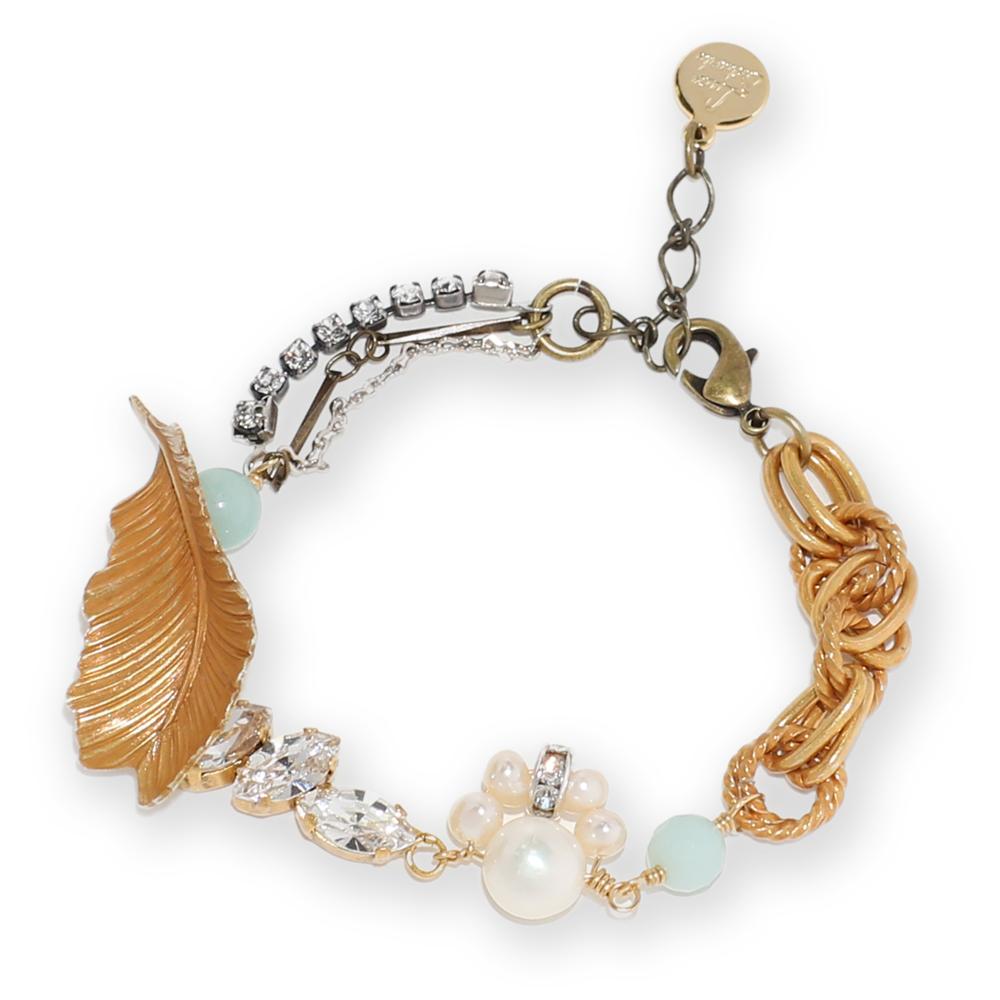Luce Costante Foglia系列珍珠天然石手鍊