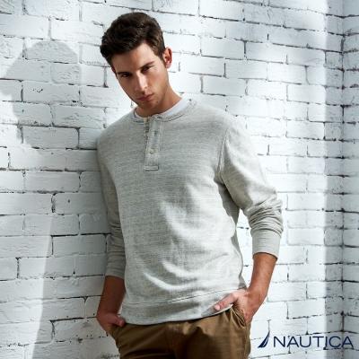 Nautica 亨利領條紋POLO衫-淺灰色