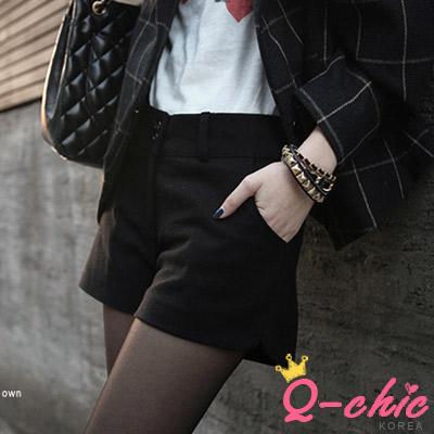 【Q-chic】簡約休閒風保暖毛料短褲 (共四色)