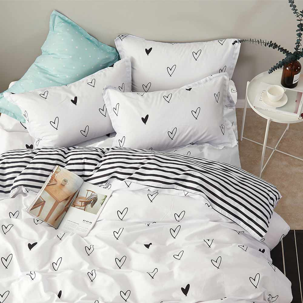 Ania Casa 奧黛麗 雙人三件式 100%精梳棉 台灣製 床包枕套純棉三件組