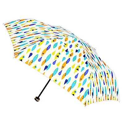 2mm 繽紛魚點 晴雨兩用輕量手開傘 (白色)