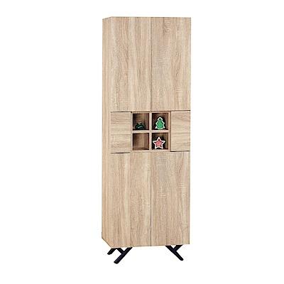品家居 路易多2尺橡木紋六門書櫃-60x32x180cm免組