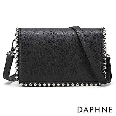 達芙妮DAPHNE-簡約純色鉚釘兩用側背包-黑