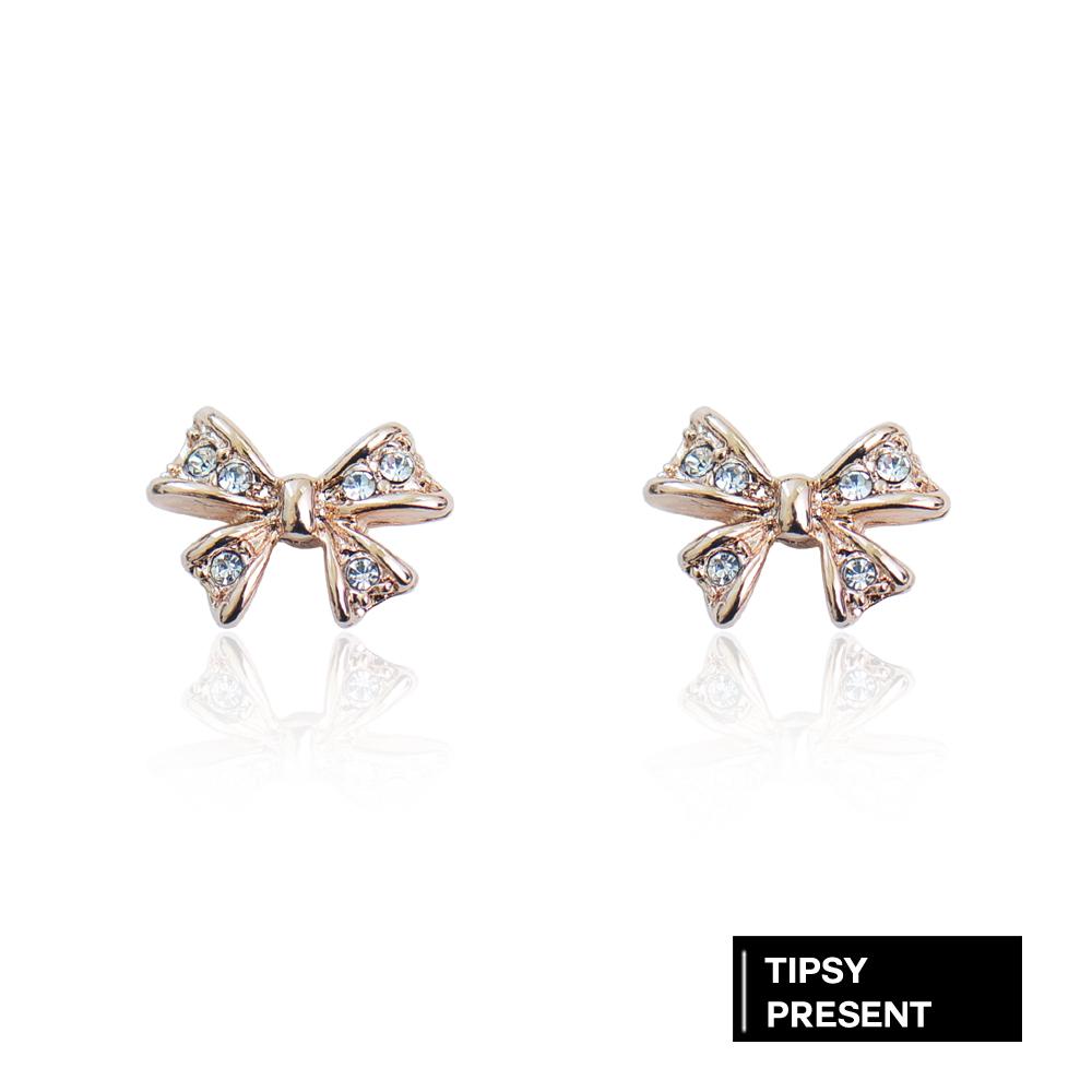 微醺禮物 耳環 鍍18K金 高級水鑽 迷你蝴蝶結 針式 耳環