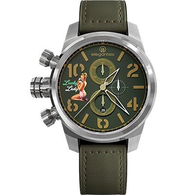 elegantsis JF48QS機頭藝術-女郎計時手錶-綠/48mm