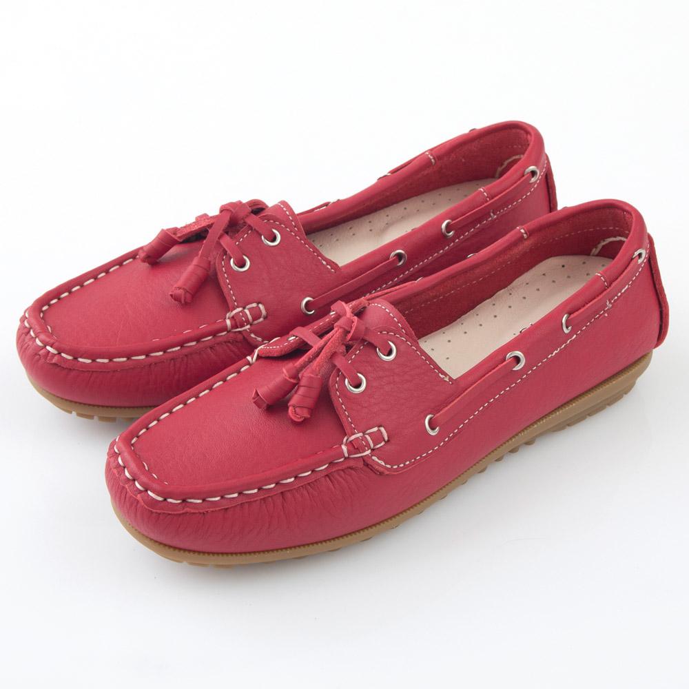 G.Ms. MIT情侶鞋系列-水洗牛皮帆船鞋-亮麗紅