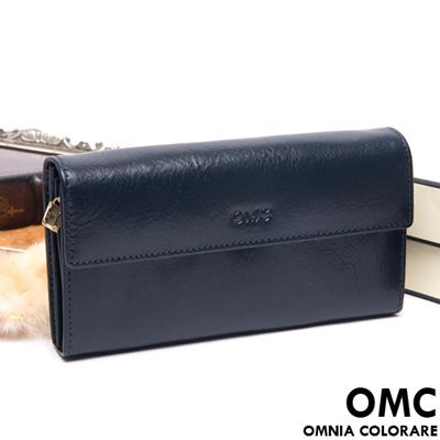 OMC - 原皮魅力系列多層手拿式長夾-星辰藍