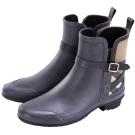 BURBERRY HOUSE 格紋拼接設計雨靴(黑色)