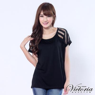 Victoria 約克條紋燒花上衣-女-黑