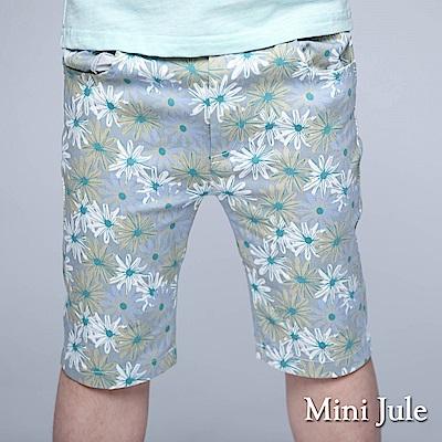 Mini Jule 童裝-短褲 滿版配色花朵口袋鬆緊短褲(灰)