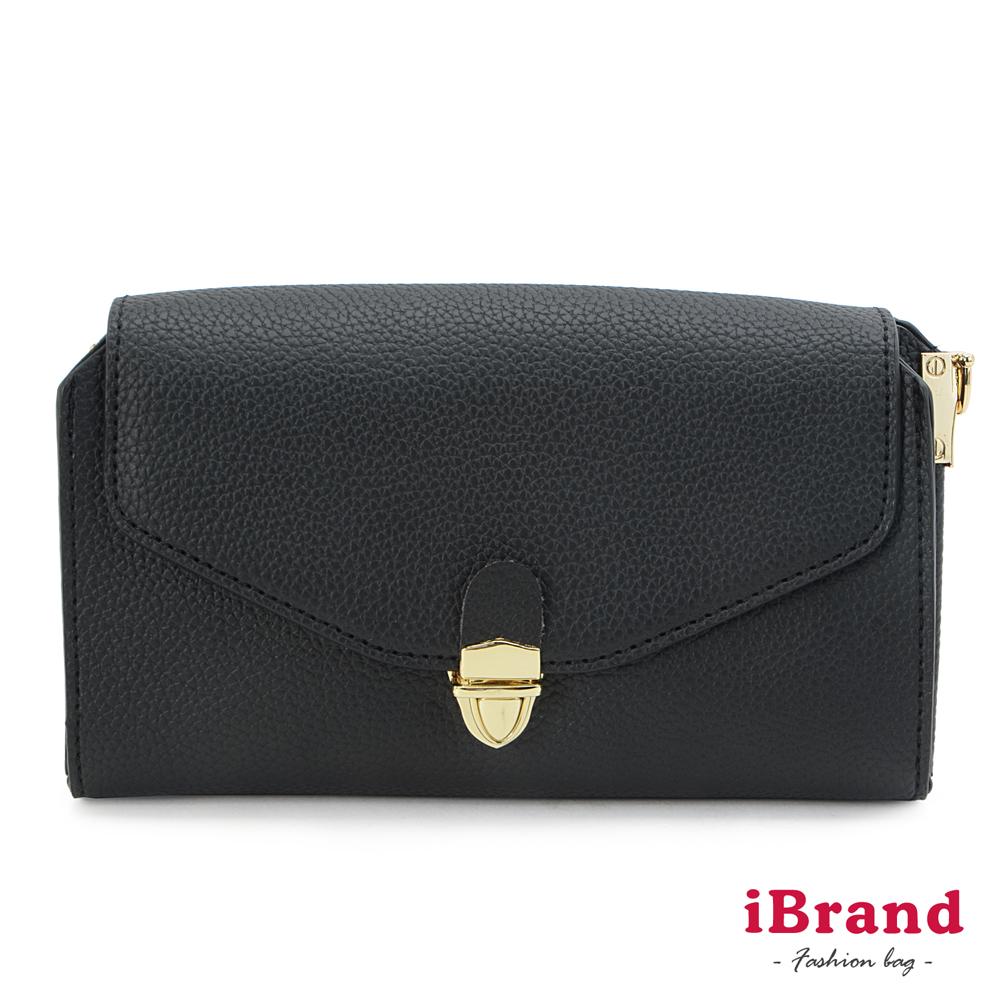 iBrand 韓國同步流行信封金屬釦手拿/側背包-黑色