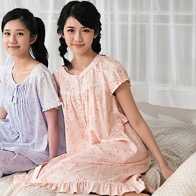 華歌爾 仕女系列 刺繡花居家休閒 M-L 短袖睡衣裙(橘)