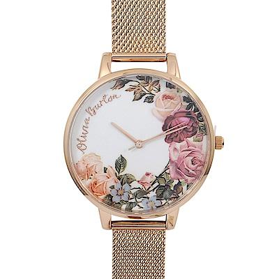 Olivia Burton 英倫復古手錶 英式花園 玫瑰金米蘭金屬錶帶38mm