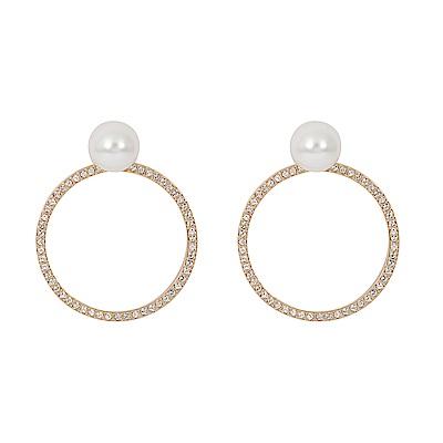 SWAROVSKI 施華洛世奇 珍珠鏤空圓環水晶玫瑰金耳環